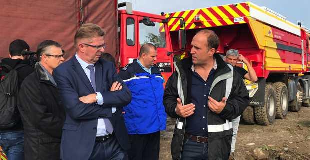 Le Préfet de Haute-Corse, Gérard Gavory, aux Marines de San Pellegrino avec le maire de Folelli, Yannick Castelli.