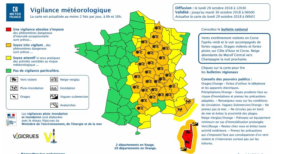 Tempête Adrian : Météo-France place la Corse en vigilance rouge «vents violents»