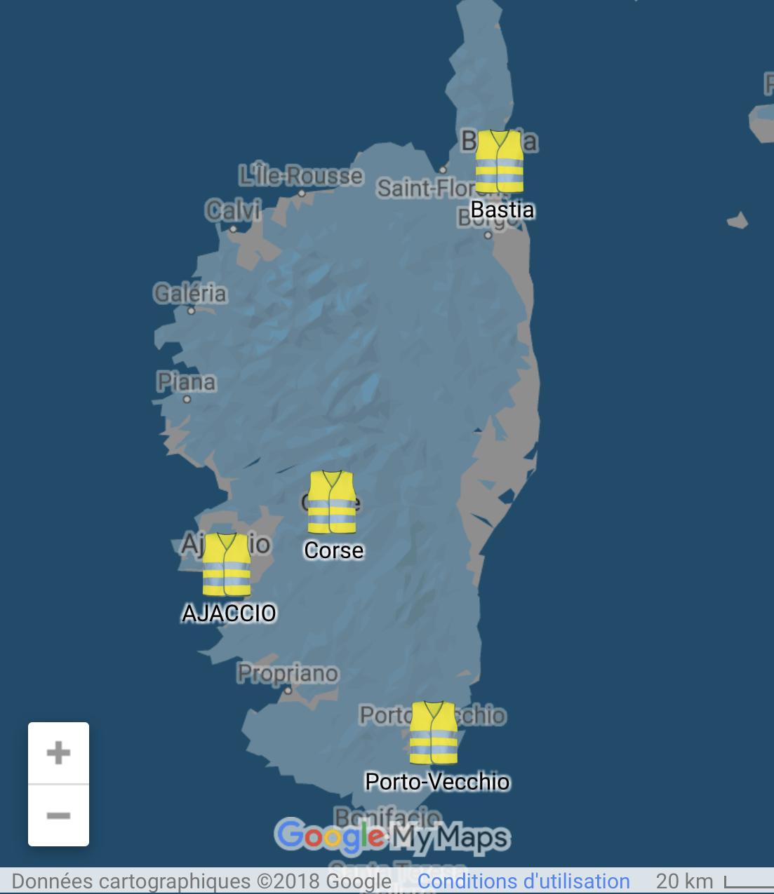 17 novembre : où seront les gilets jaunes en Corse ? La carte en direct