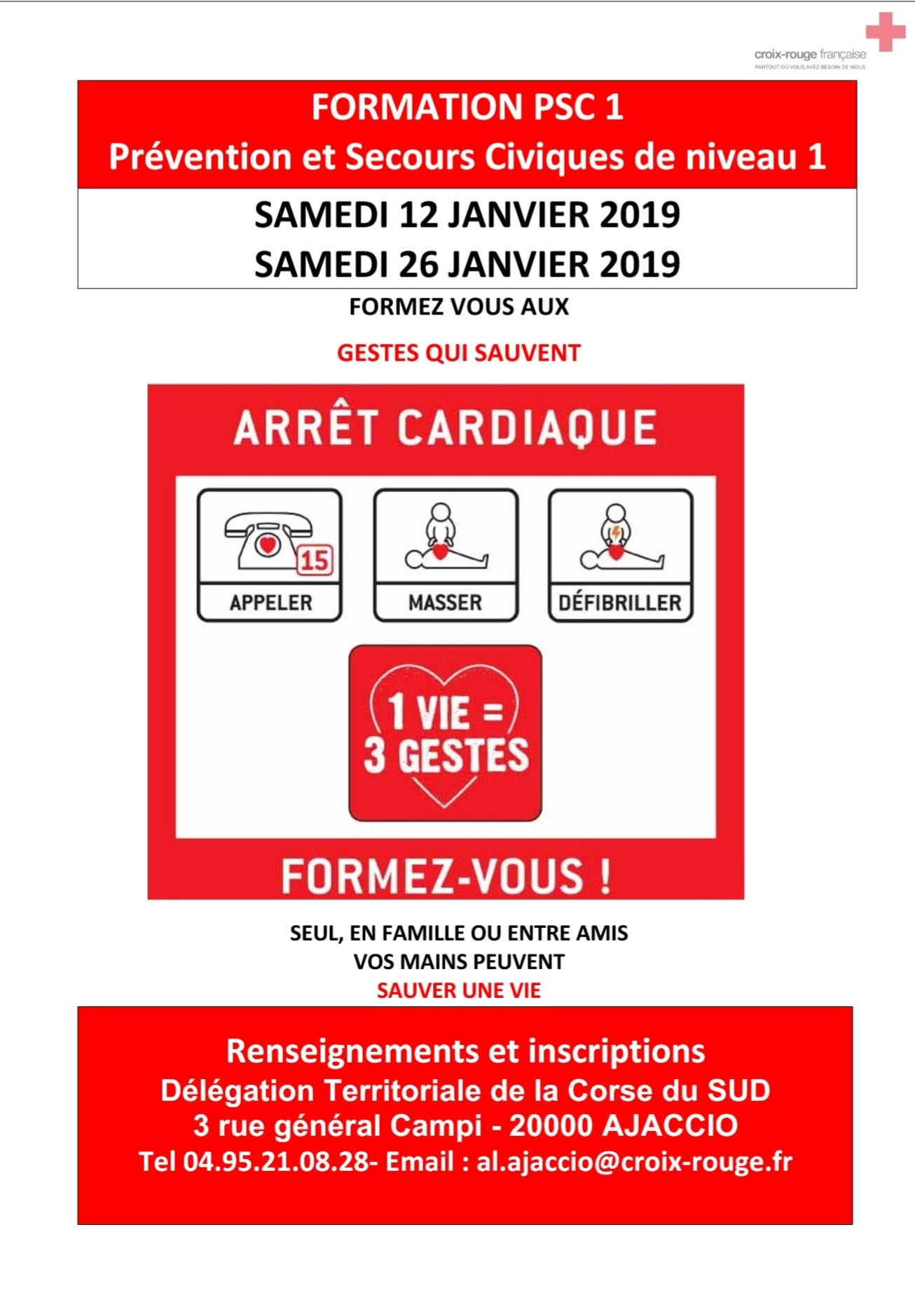 Croix-Rouge  Ajaccio : formation aux gestes de premiers secours