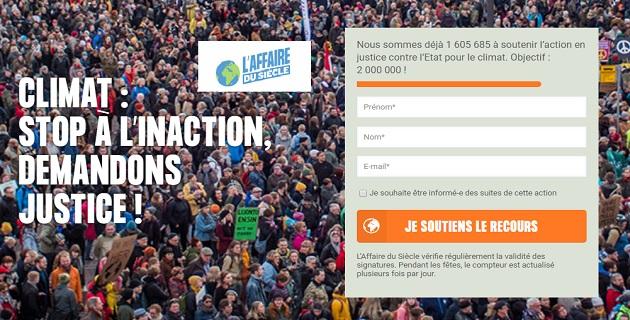 """L'affaire du siècle"""": une pétition à plus d'1,6 millions de signataires"""