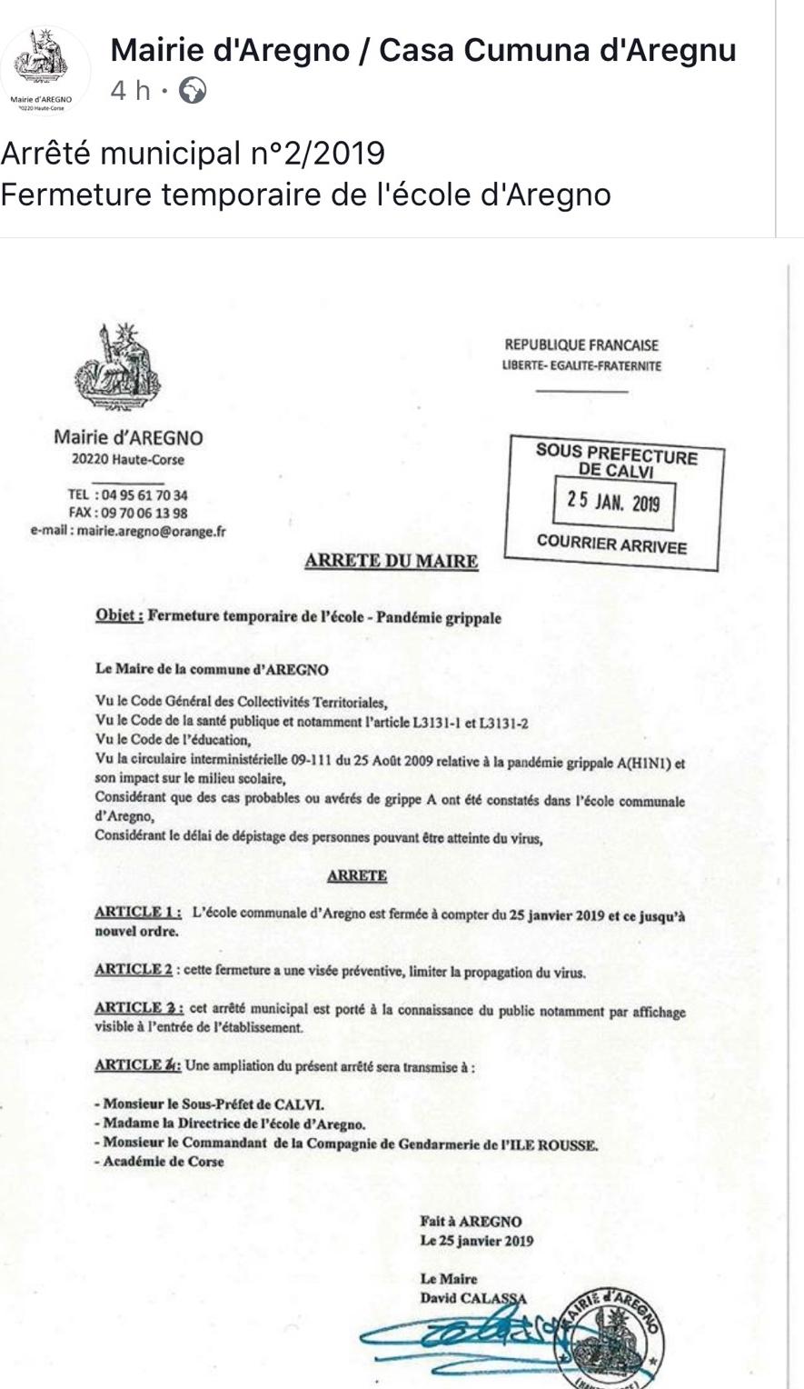 Suspicion de pandémie grippale A : L'école d'Aregnu fermée jusqu'à nouvel ordre