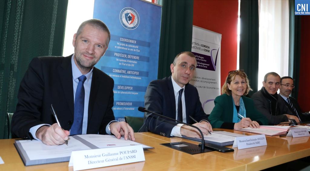 Jean-Christophe Angelini, Président de l'ADEC, Guillaume Poupard, Directeur Général de l'ANSSI et Josiane Chevalier, préfète de Corse
