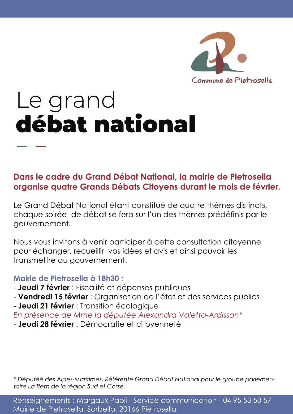2ème Grand Débat National à Pietrosella ce vendredi 15 février