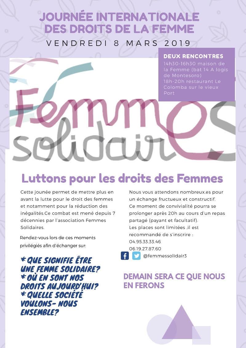 A Bastia les Femmes Solidaires se mobilisent pour la Journée internationale des droits de la femme