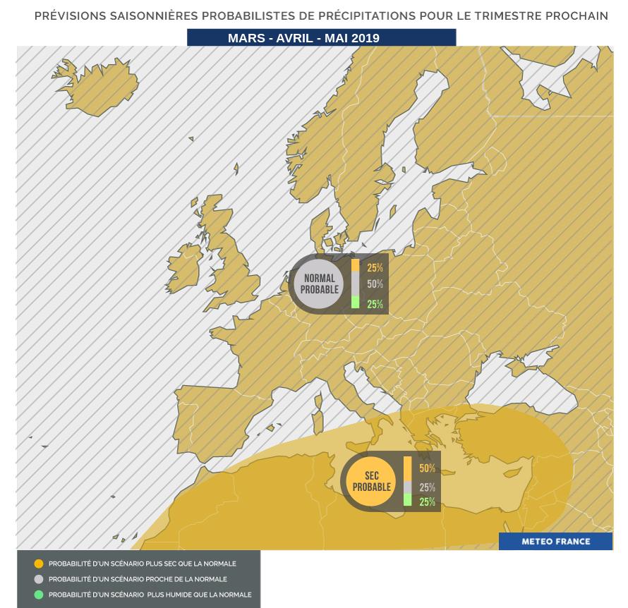 Synthèse des prévisions probabilistes pour les précipitations (source Météo France)