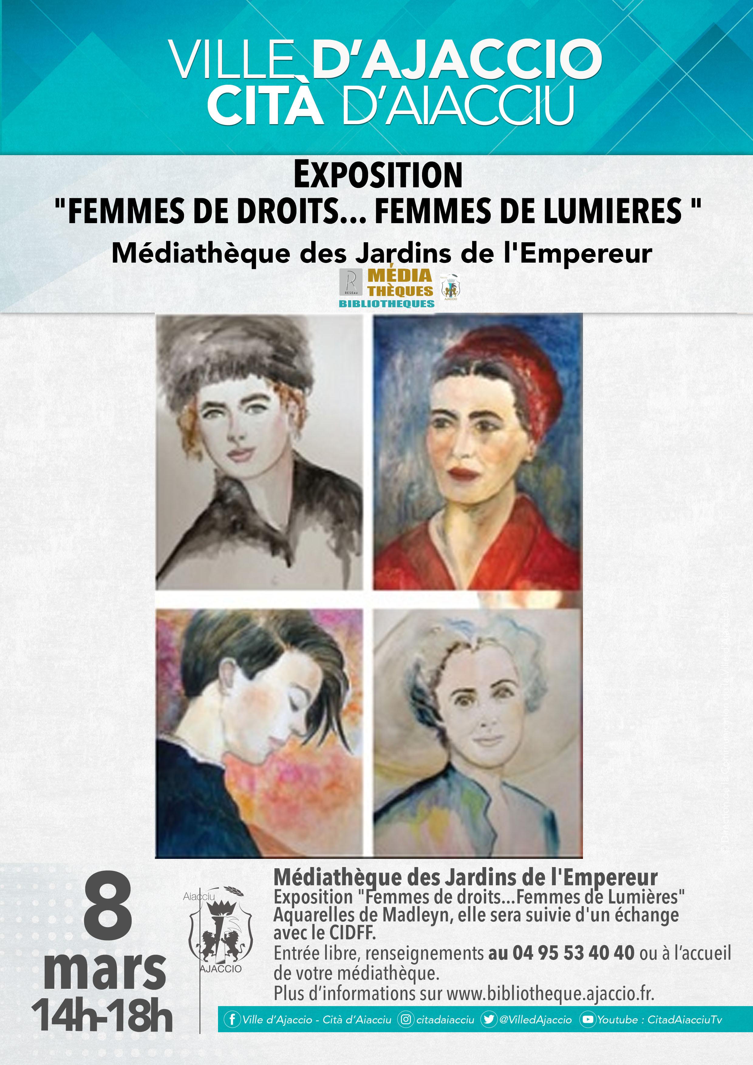 « Femmes de droits…. Femmes de lumières » en expo à la Médiathèque des Jardins de l'Empereur d'Ajaccio