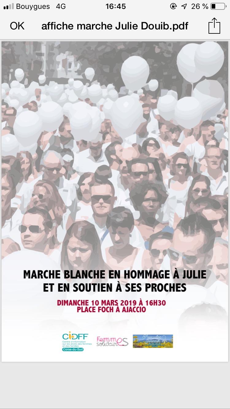 Marche blanche en hommage à Julie Douib ce dimanche à Ajaccio