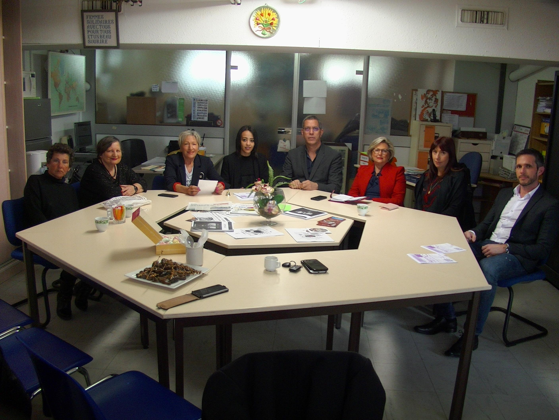 """Pierre Savelli, maire de Bastia et Louis Colombani, son chef de cabinet, ont participé aux échanges organisés par """"Femmes Solidaires"""""""