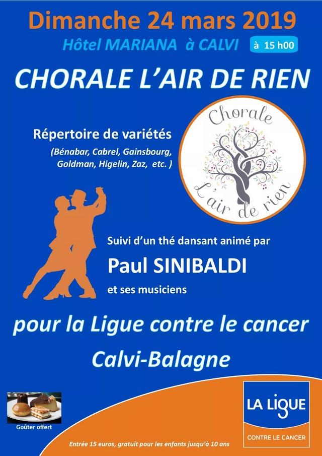 Chants et thé dansant le 24 mars à Calvi avec la Ligue contre le cancer