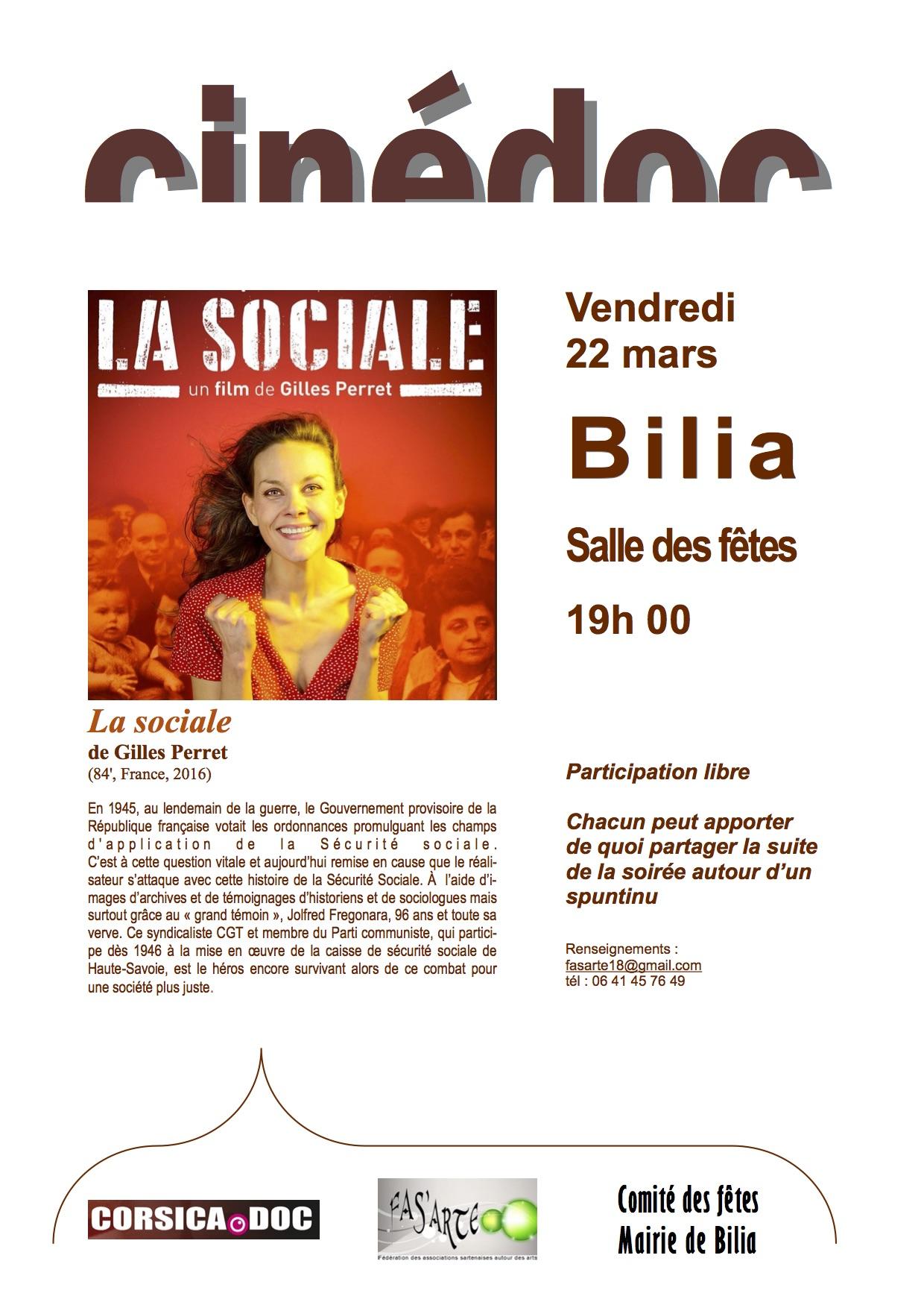 """Projection de """"La Sociale"""" à la Salle des fêtes de Bilia ce vendredi"""