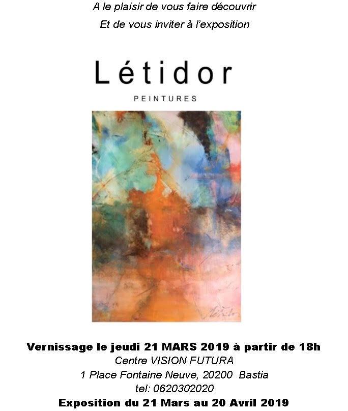 Bastia : Vernissage de LETIDOR ce soir à VISION FUTURA