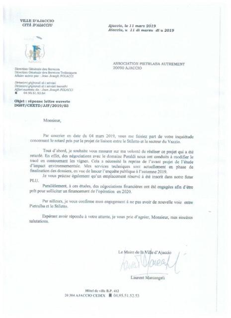 """Projet de la route des vignes : Laurent Marcangeli rassure l'association """"Pietralba Autrement"""""""