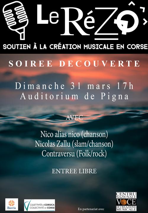 Soirée  découverte avec  Rézo le 31 mars à l'auditorium de Pigna