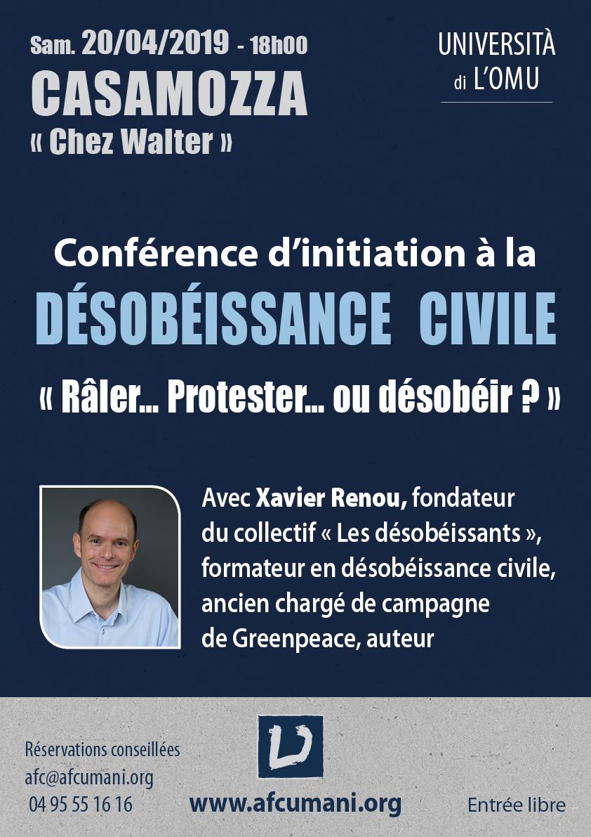 AFC Umani : La désobéissance civile en conférence à Casamozza