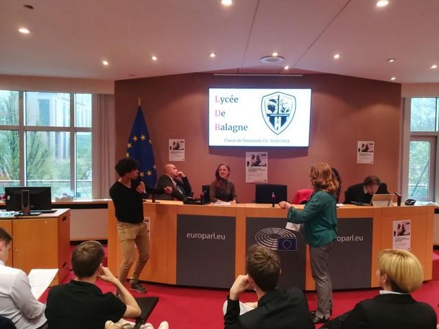 Les Terminales ES du Lycée de Balagne au Parlement Européen