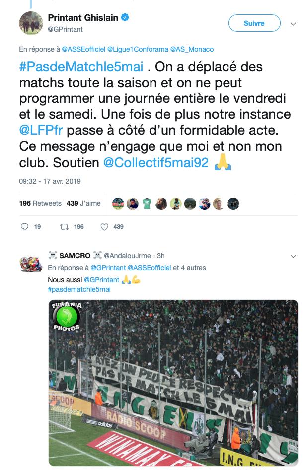 Monaco-Saint Etienne le 5 Mai : Le coup de gueule de Ghislain Printant