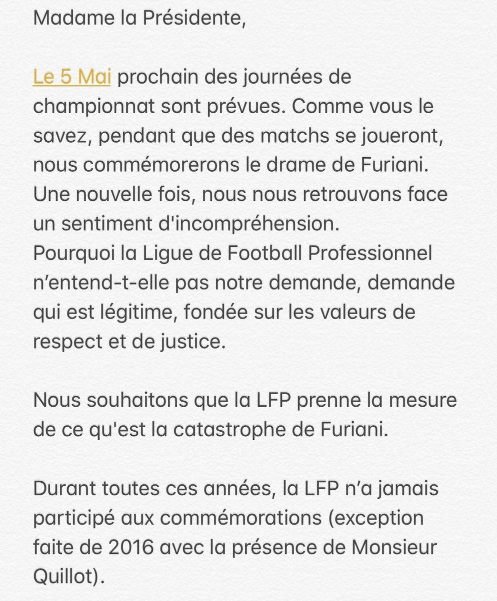 Le Collectif de Furiani demande à la LFP le report des matches du 5 Mai