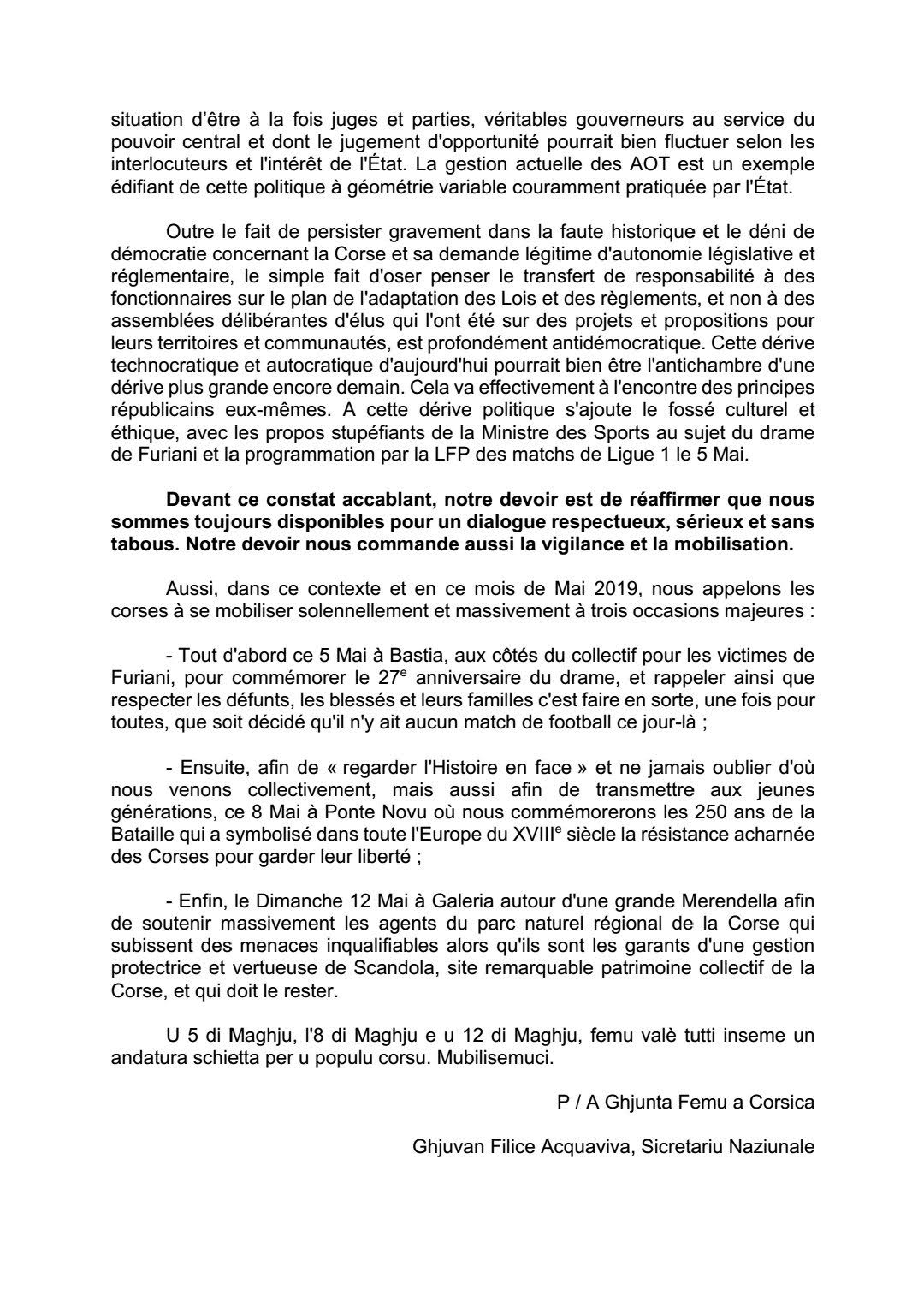Femu a Corsica appelle à une triple mobilisation en Mai