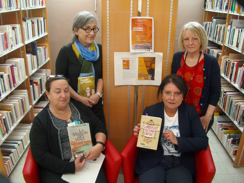 Linda Piazza (bibliothèque Prelà), Michèle Corrotti (présidente de Histoire(s) en Mai, Marie-Hélène Muraccioli (Bibliothèque centrale) et Jocelyne Casta (directrice des bibliothèques et médiathèques de la ville) ont présenté à CNI la manifestation