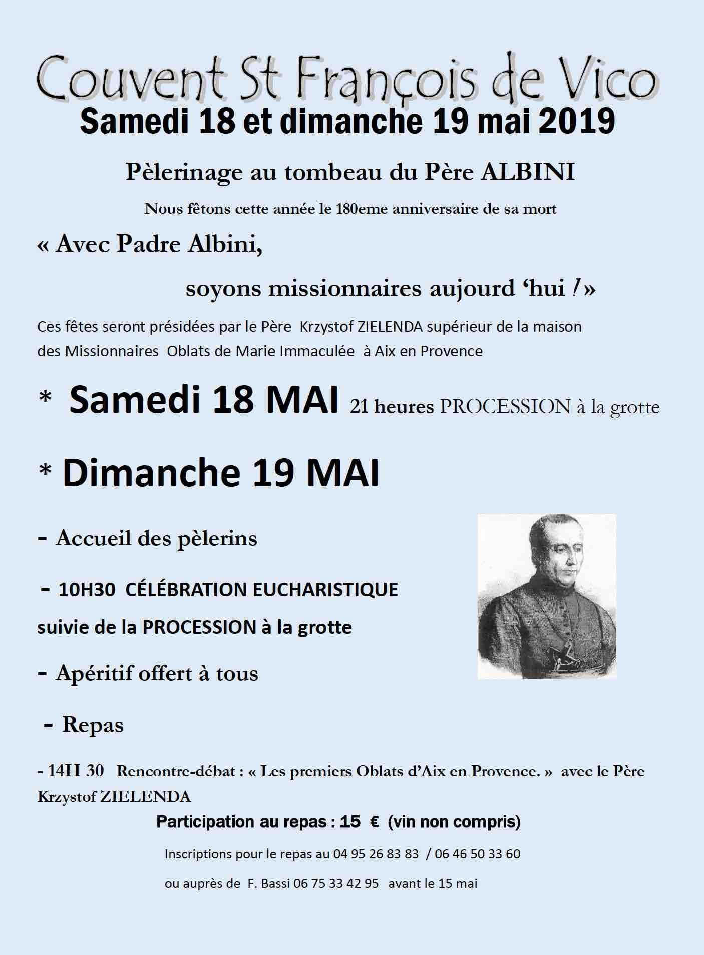 Vico : un pèlerinage au tombeau du père Albini ce 19 mai