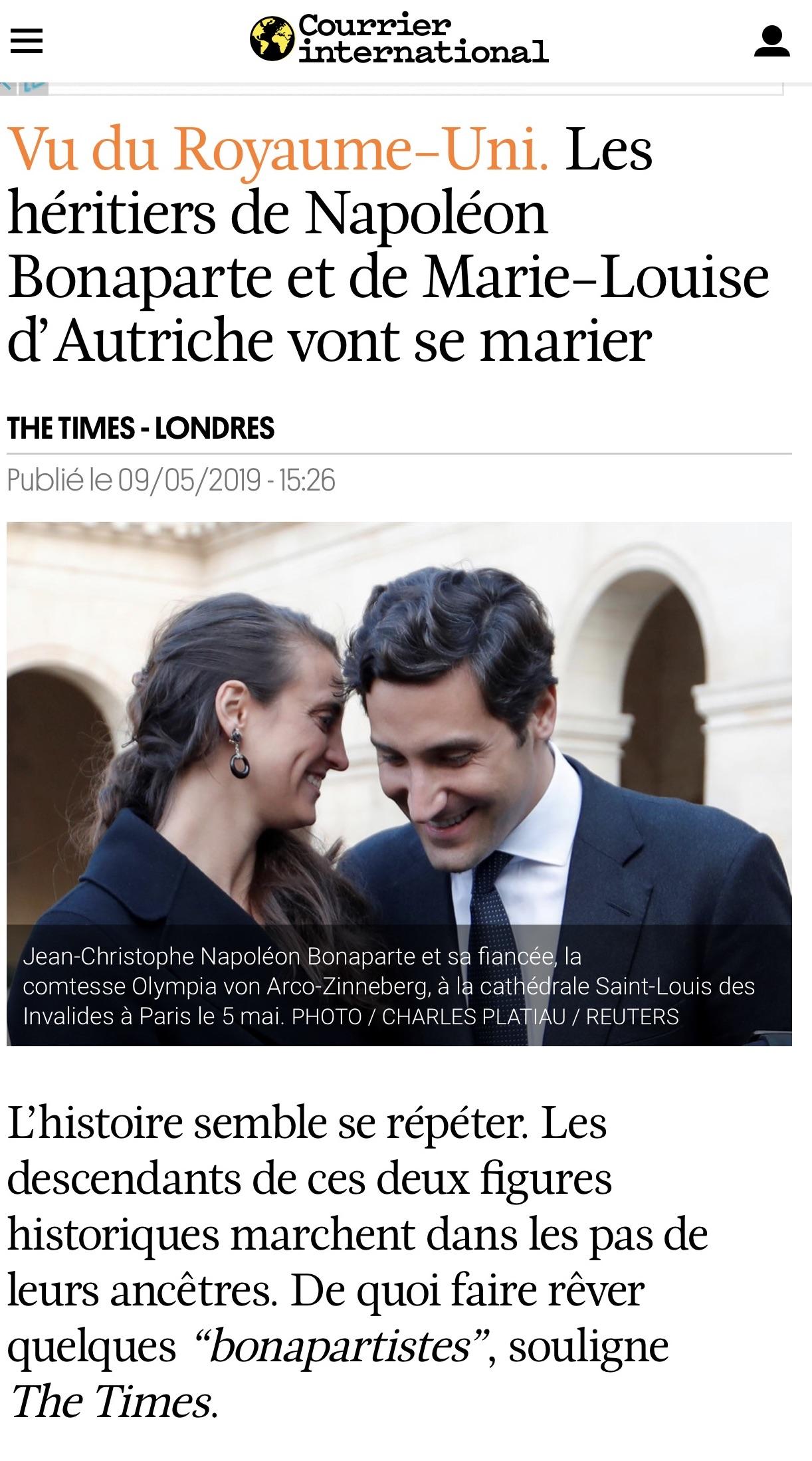 Les descendants de Napoléon Bonaparte et de Marie-Louise d'Autriche annoncent leur mariage