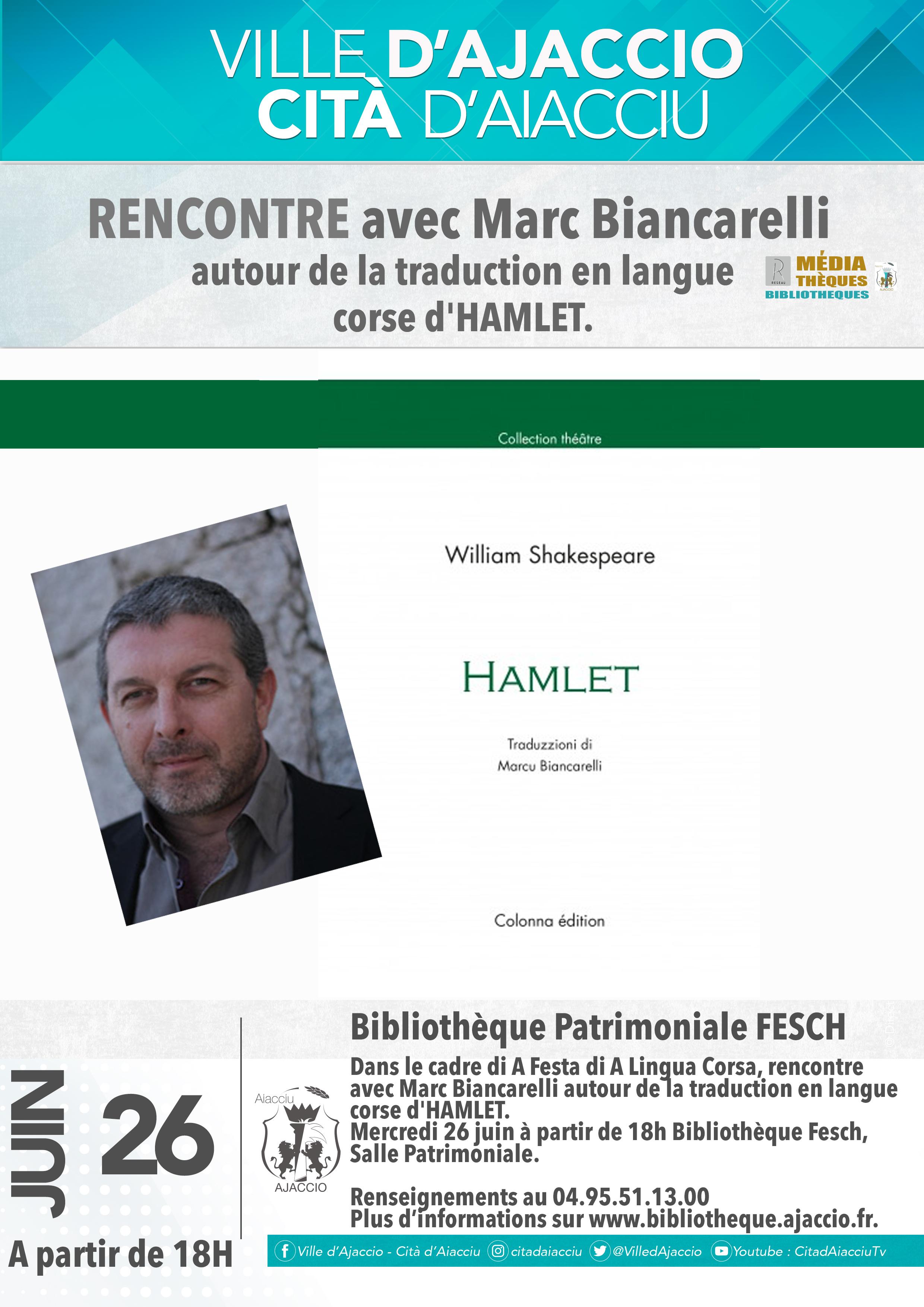 Marc Biancarelli raconte son Hamlet à la la bibliothèque municipale