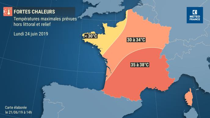 Carte Météo France, prévisions du 24 juin. Météo France