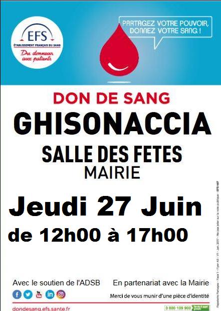 Don de sang : une collecte ce jeudi 27 juin à Ghisonaccia