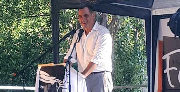 Le président du Conseil exécutif de la Collectivité de Corse et leader de Femu a Corsica, au rassemblement de Femu au boulodrone de Lupinu.