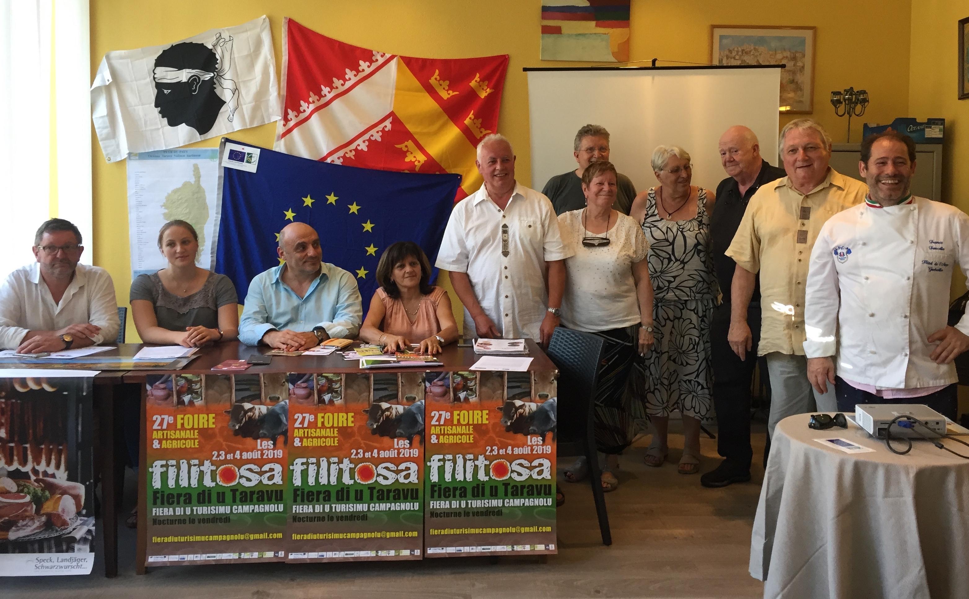 La présentation de la 27e foire de Filitosa a eu lieu le 1er Juillet dernier à l'hôtel de l'Ange à Guebwiller. A cette occasion Un repas des terroirs d'Europe a été servi à plus de cent convives
