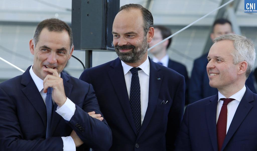 Gilles Simeoni, Edouard Philippe et François De Rugy à Vignola. Photo Michel Luccioni.