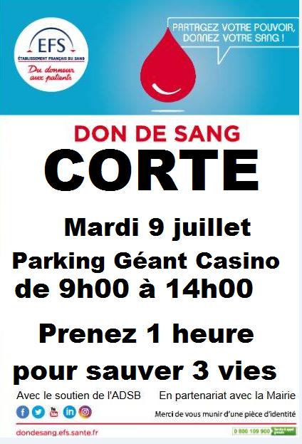 Don de sang : une collecte mardi 9 juillet à Corte