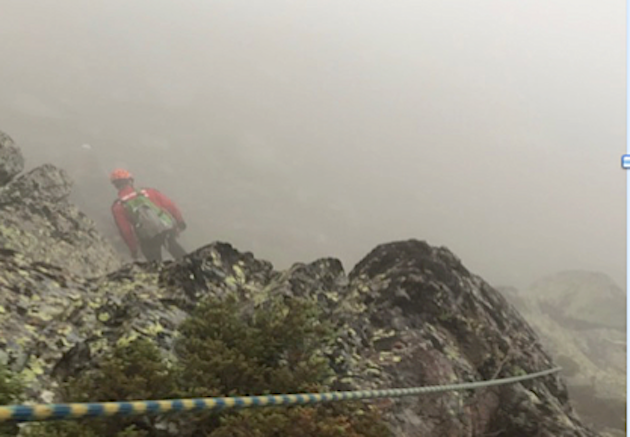 """Lors du secours en montagne du 15 juillet sur le Cinto pendant l'alerte Orange pour Orages"""" et """"Inondations. (GMSP2B)"""