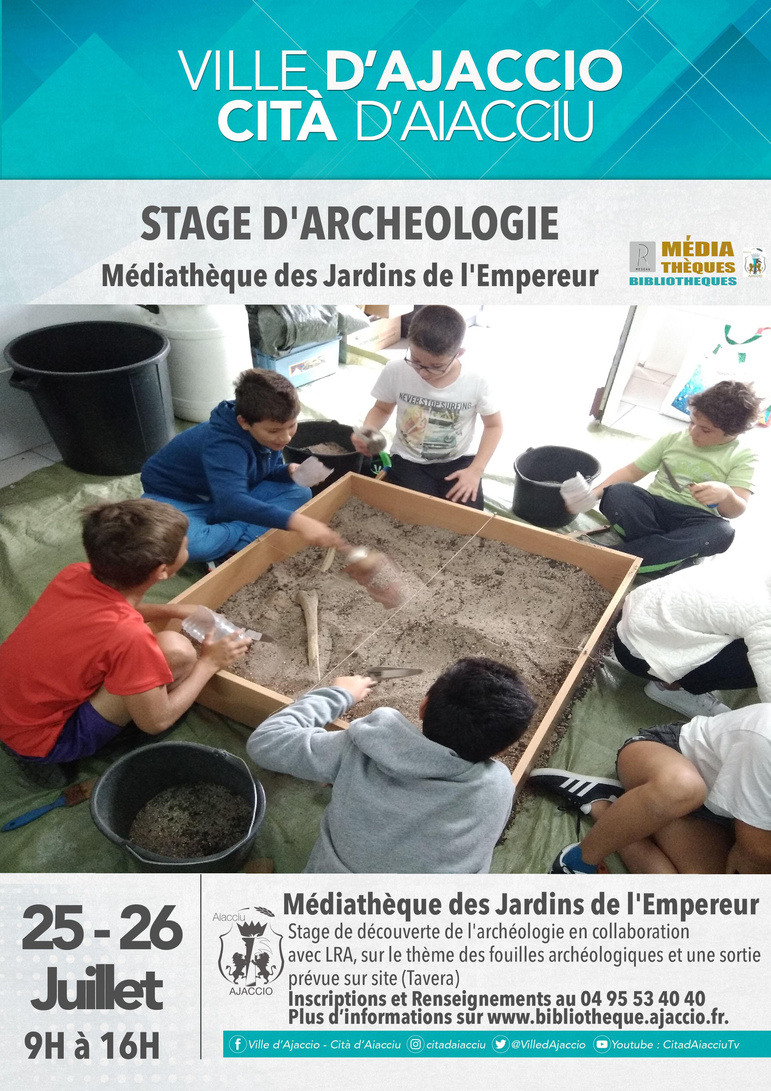 Ajaccio : stage archéologie et Murder Party à la Médiathèque des Jardins de l'Empereur