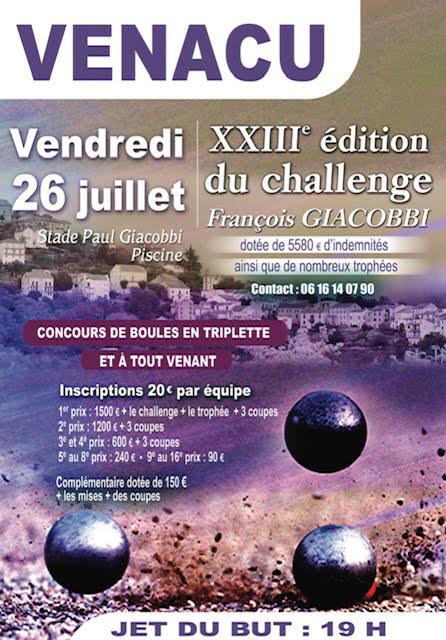 Challenge François Giacobbi : La pétanque revient à Venaco ce 26 juillet