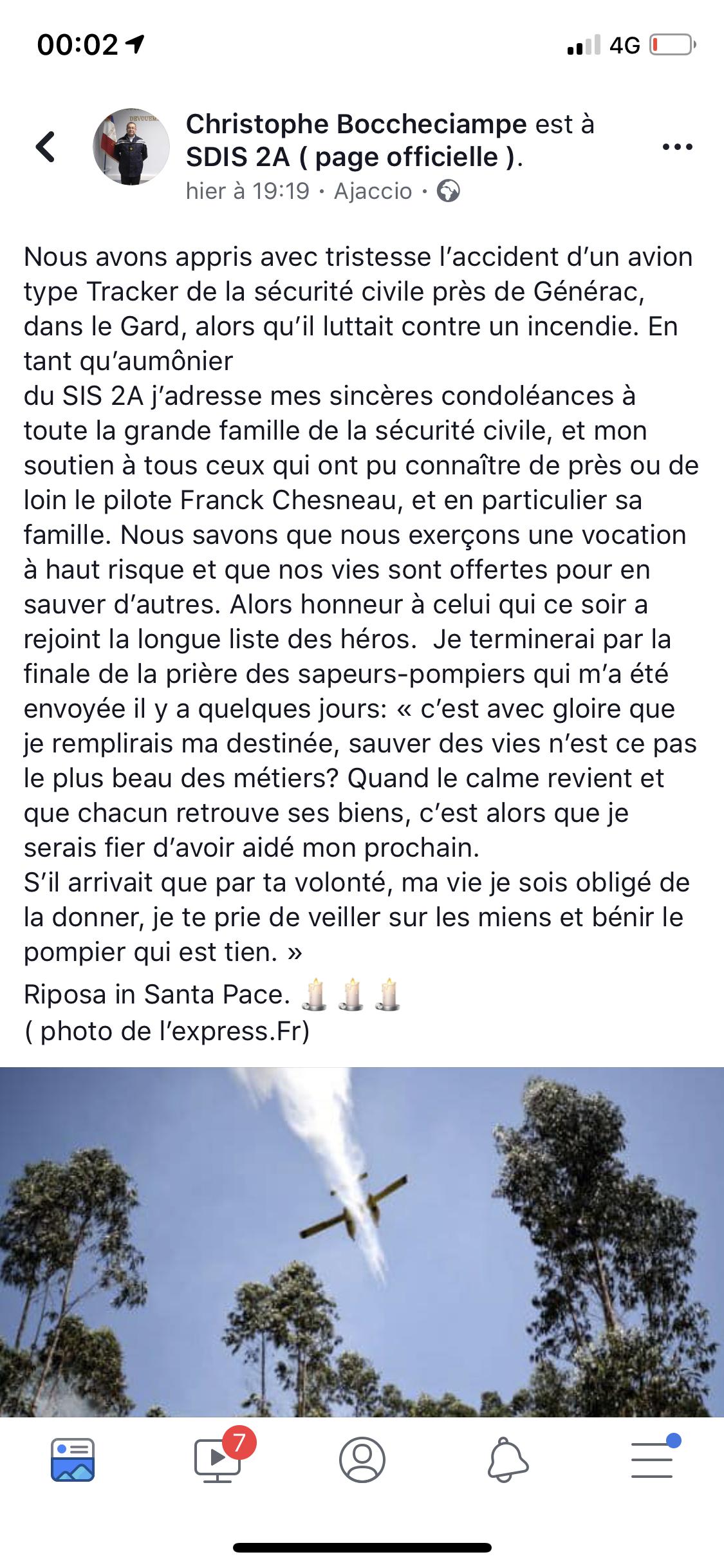 Crash d'un bombardier d'eau dans le Gard. Vive émotion en Corse