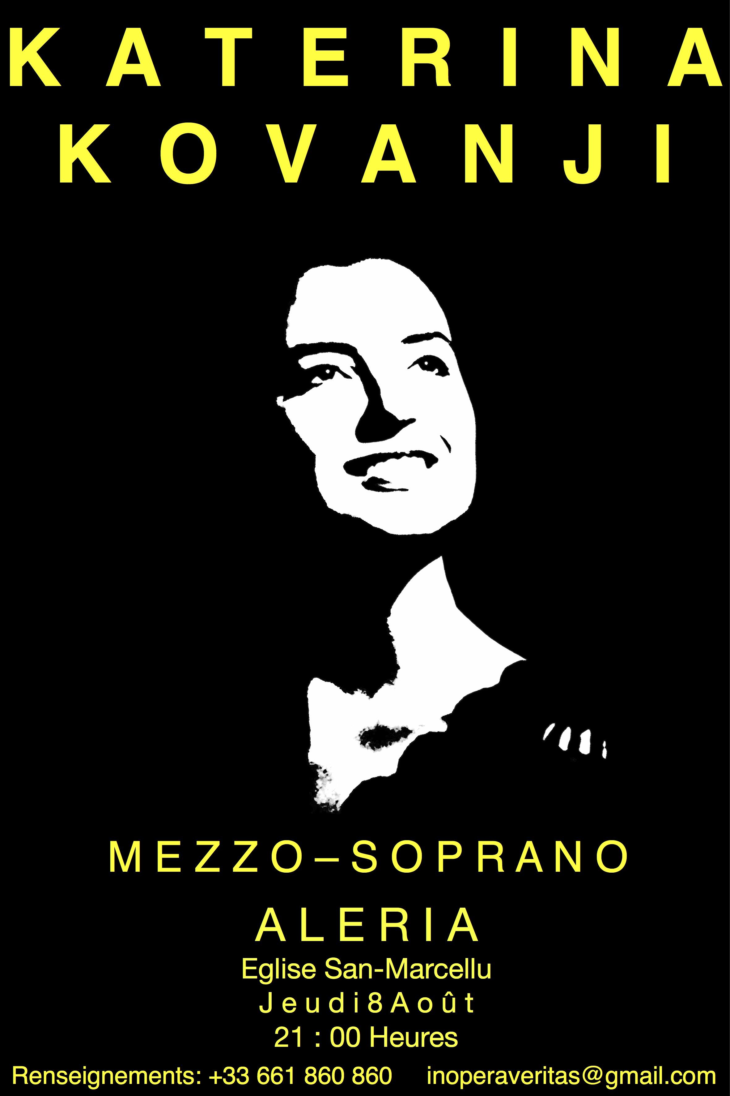 Katerina Kovanji en concert à Aleria et Ghisonaccia les 8 et 22 aout