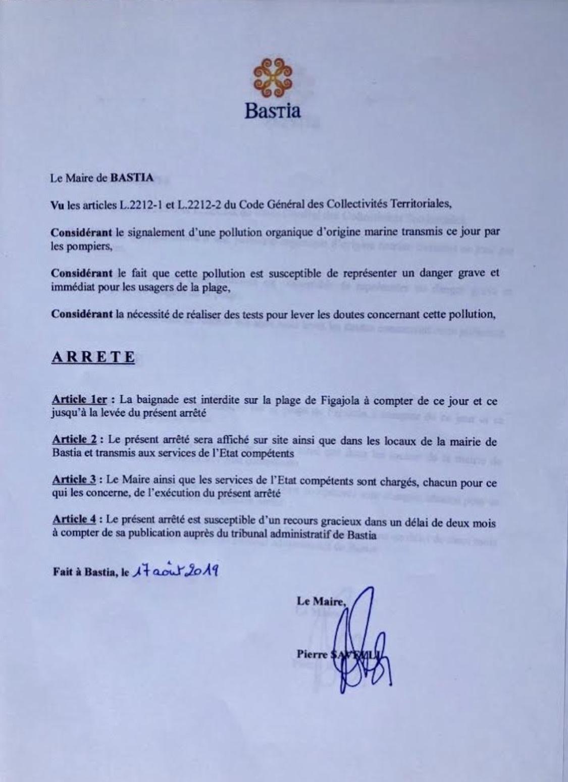 Bastia : Baignade interdite et plage fermée à Ficaghjola