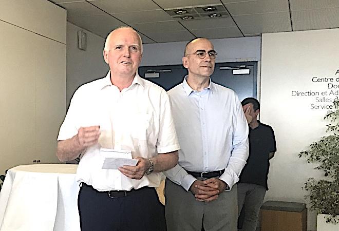 """Alain Yvon (à gauche) avec Gérard Clerissi : """"au-revoir Bastia"""""""