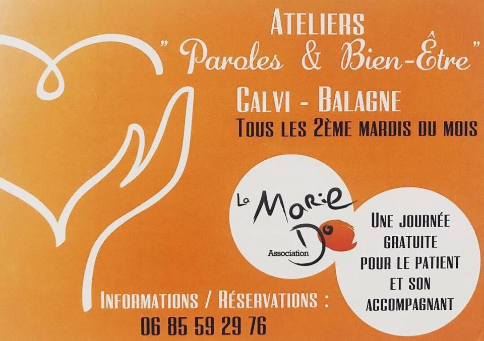 Bientôt la reprise des ateliers «Paroles & Bien être» de la Marie Do Balagne à Calvi.