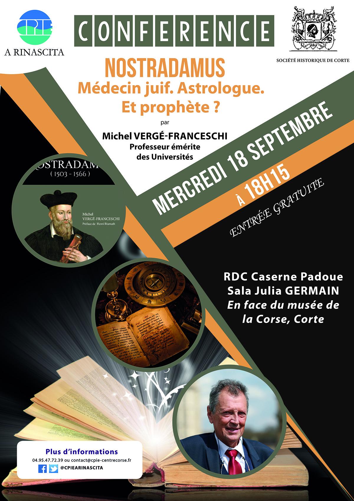 Nostradamus en conférence à Corte ce 18 septembre