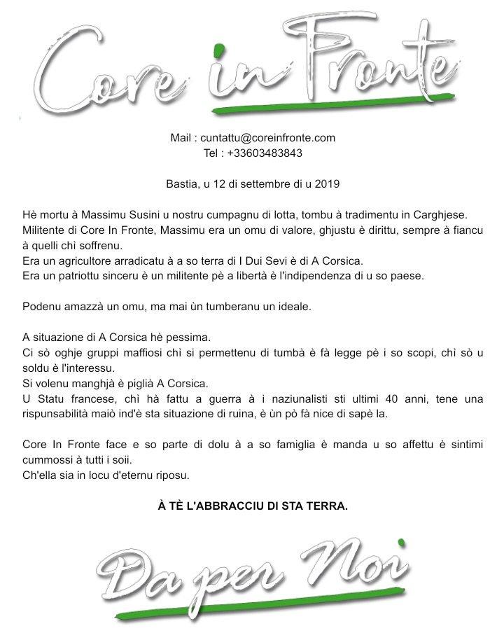 """""""Si volenu manghjà a Corsica"""" : Core in Fronte réagit à l'assassinat de Cargese"""