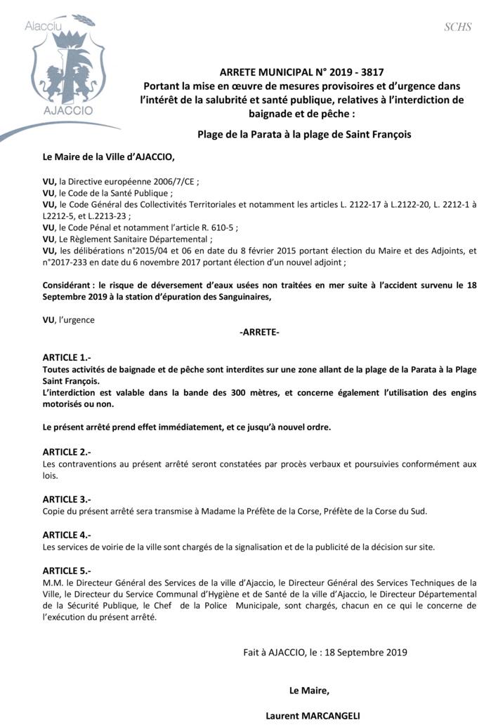 Ajaccio : Baignade et pêche interdites de la Parata à la plage Saint-François