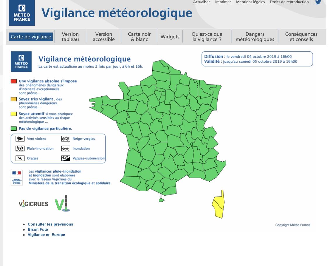 Vent violent : Météo France place la Corse en alerte jaune