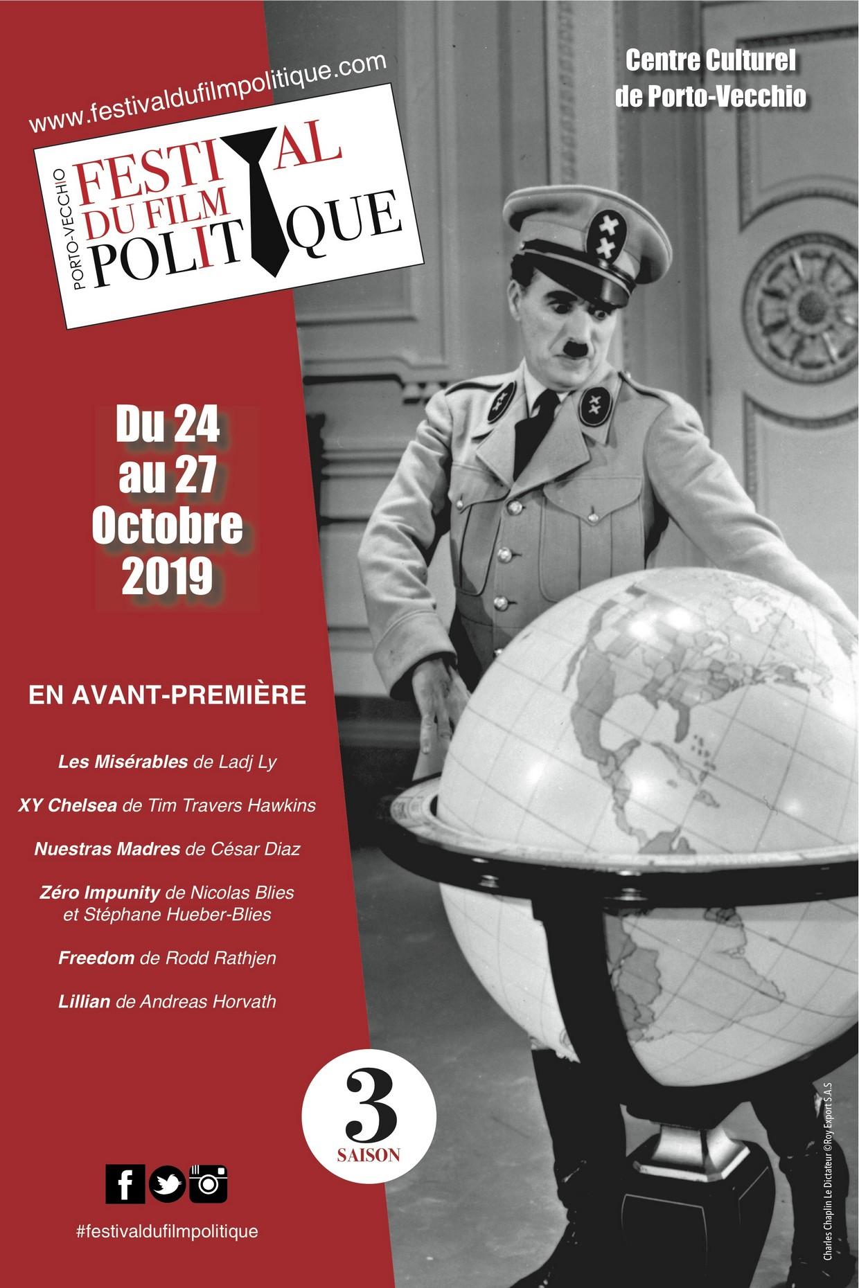 Le Festival du Film Politique de Porto-Vecchio revient pour sa 3ème édition   du 24 au 27 octobre 2019