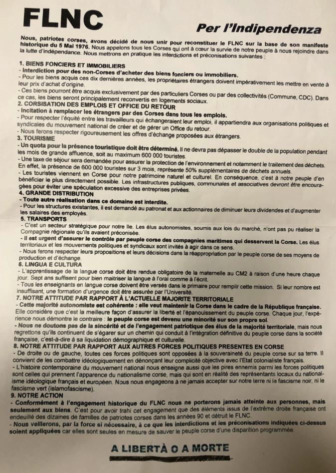 Des tracts FLNC découverts à Erbalonga : le parquet antiterroriste s'est saisi de l'enquête