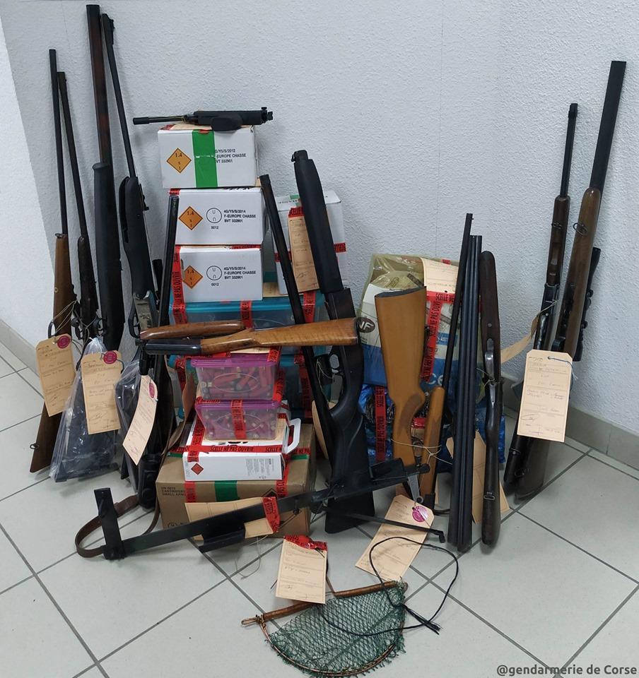 Albitreccia : 12 fusils de chasse et 1 000 cartouches au domicile du braconnier