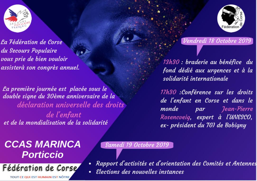 Les congrès annuel du Secours Populaire de Corse se tient  les 17 et 18 octobre à Porticcio