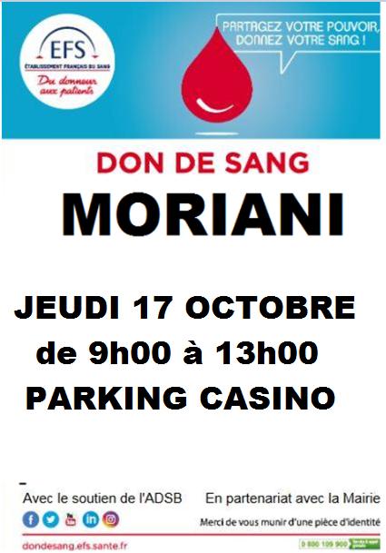 Don du sang : Une collecte ce jeudi à Moriani